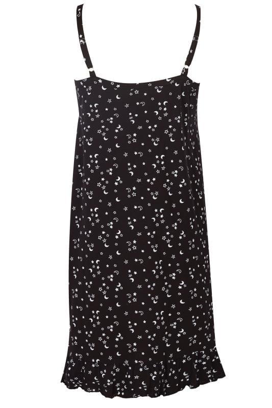 Black & White Star & Moon Lace Trim Chemise