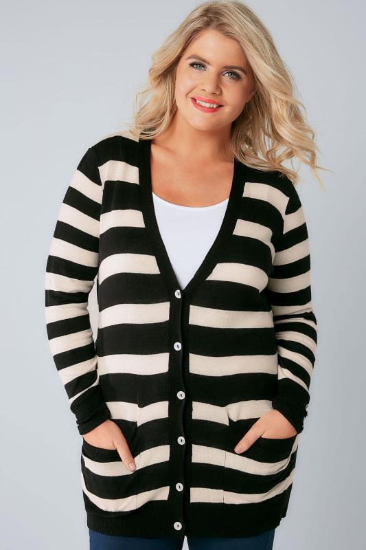 Cardigans Black & White Stripe Belted Boyfriend Cardigan 124001