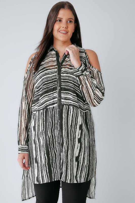 Black & White Stripe Cold Shoulder Chiffon Shirt With Step Hem