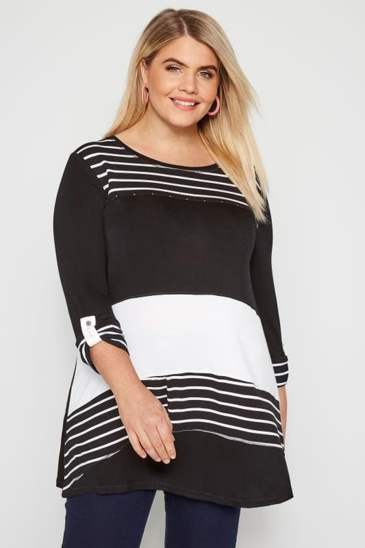 Plus Size Smart Jersey Tops Black & White Stripe Colour Block Top