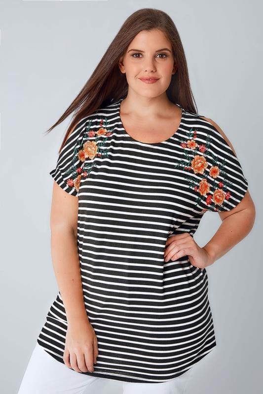 Black & White Stripe Fine Knit Top With Floral Embroidered Shoulders