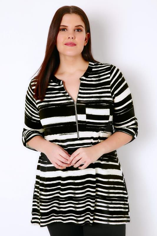 Black & White Stripe Longline Jersey Top With Zip Front