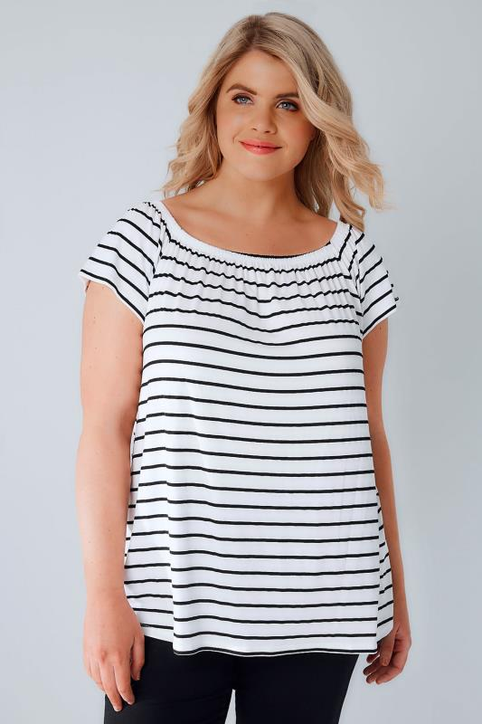 Black & White Stripe Soft Jersey Bardot Top