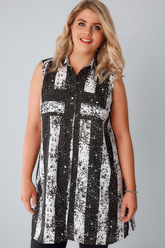Black & White Stripe Splatter Longline Sleeveless Shirt With Side Splits