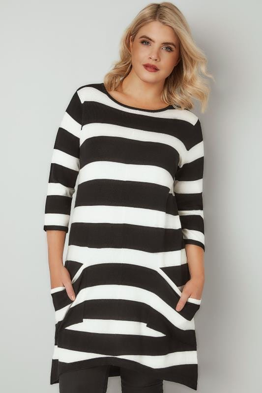 d85968e3127 Black & White Stripe Tunic Dress With Pockets, Plus size 16 to 36