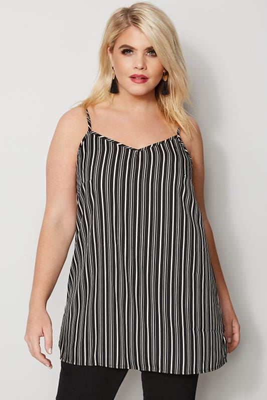 Plus Size Vests & Camis Black & White Striped Cami Top