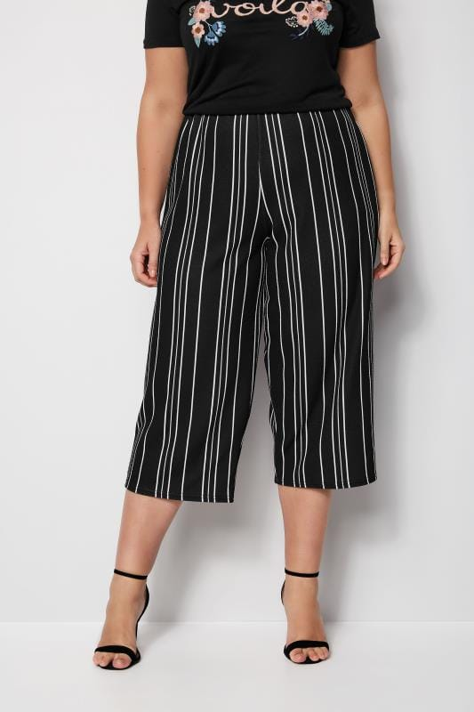 Plus Size Cropped Trousers Black & White Striped Culottes
