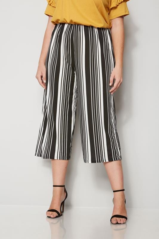 Jupes culottes Grande Taille Jupe-Culotte Noire & Blanche à Rayures
