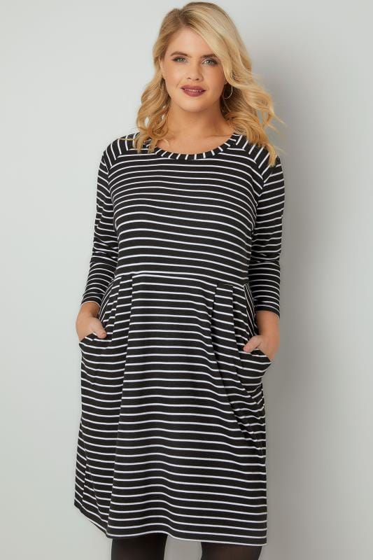 Black Amp White Striped Dress With Pockets Plus Size 16 To 36
