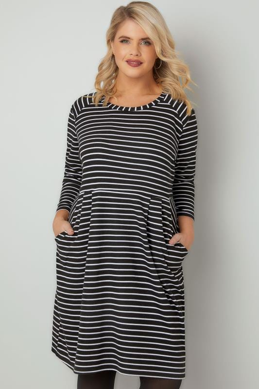 Sleeved Dresses Black & White Striped Dress With Pockets 136212