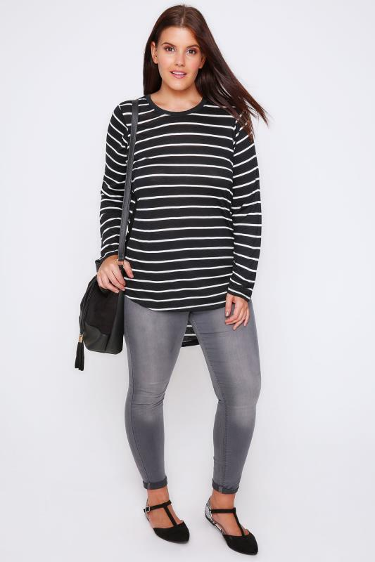 Black & White Striped Jersey Top With Elasticated Sides & Dipped Hem