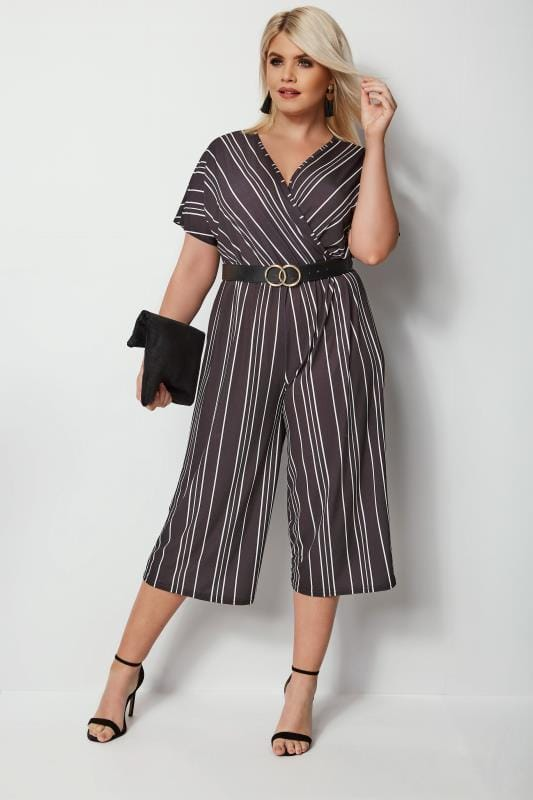 Plus Size Jumpsuits Black & White Striped Jumpsuit