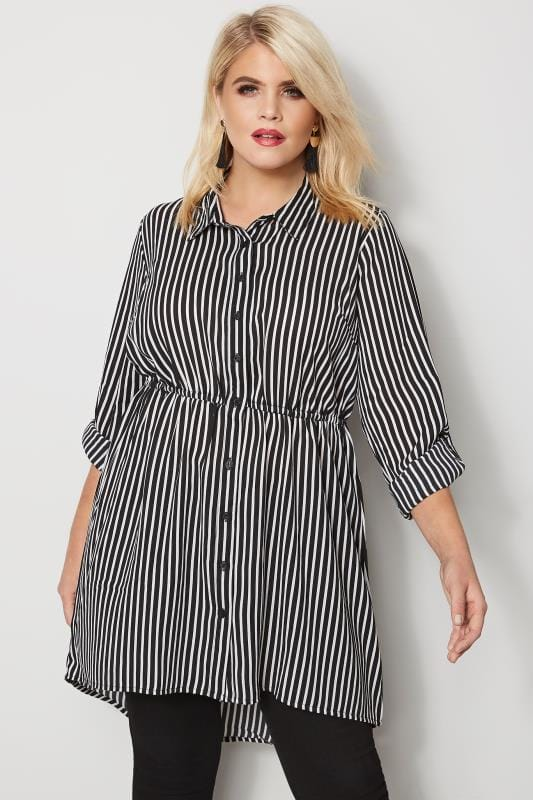 Plus Size Blouses & Shirts Black & White Striped Longline Shirt