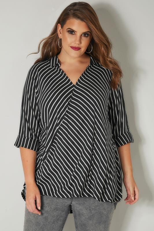 Black & White Striped Wrap Front Blouse