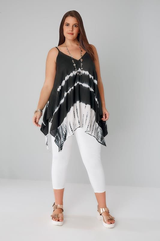 Black & White Tie Dye Cami Top With Hanky Hem