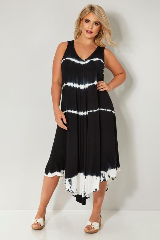 5b030541e4c Black   White Tie Dye Jersey Swing Tunic Dress