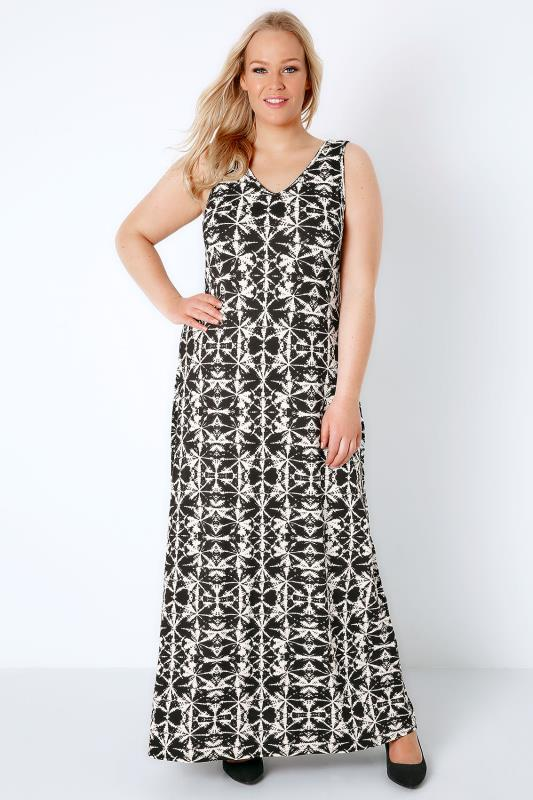 Black & White Tie Dye Print Jersey Maxi Dress With V-Neck