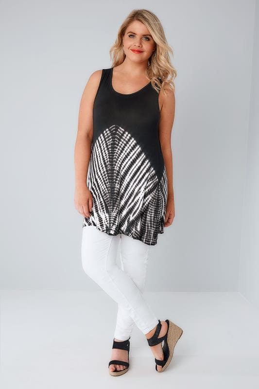 Black & White Tie Dye Sleeveless Top