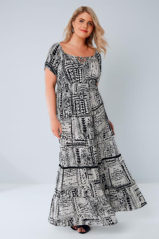Black & White Tribal Print Gypsy Maxi Dress