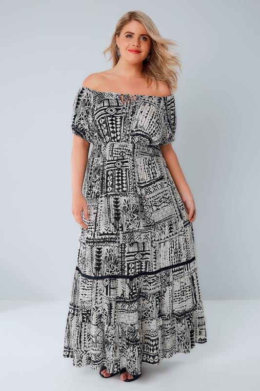 Plus Size Maxi Dresses Black & White Tribal Print Gypsy Maxi Dress
