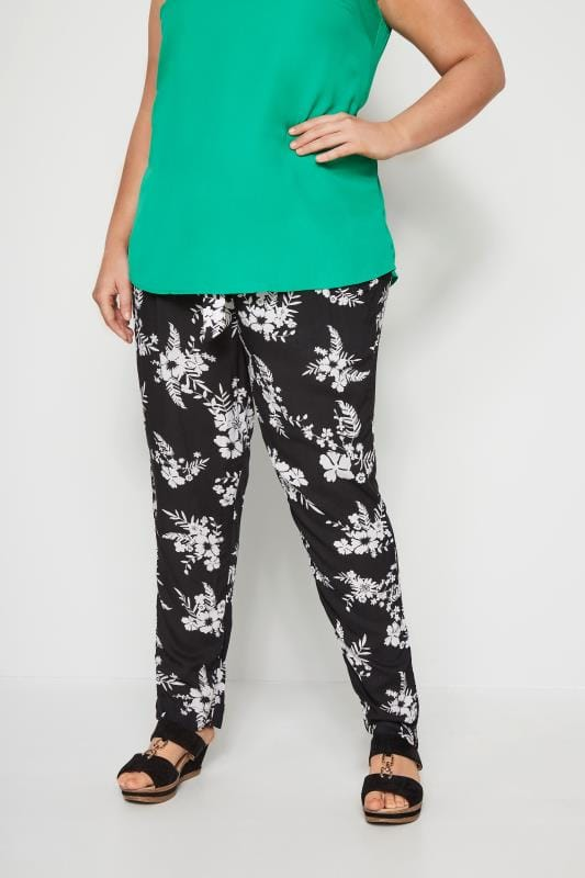 Plus Size Tapered & Slim Fit Trousers Black & White Tropical Floral Tapered Trousers