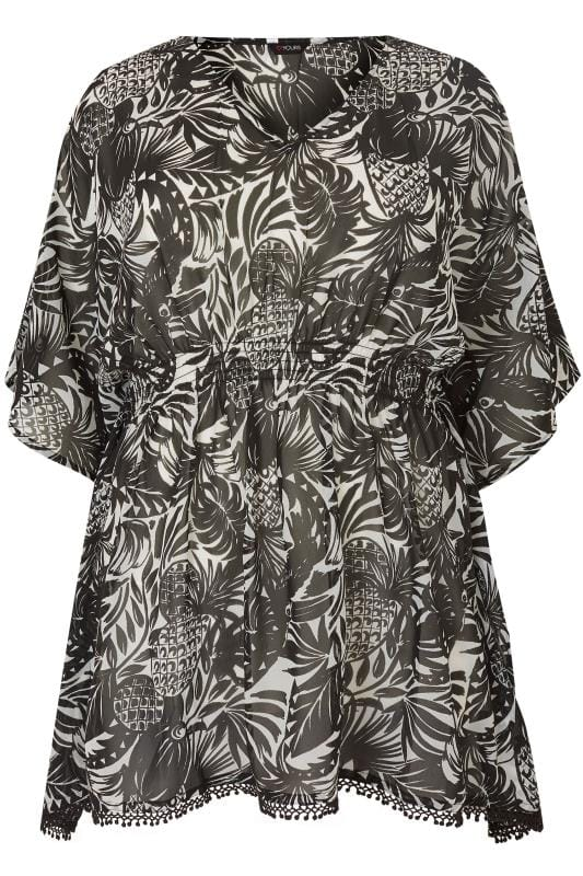 Black & White Tropical Print Cover-Up