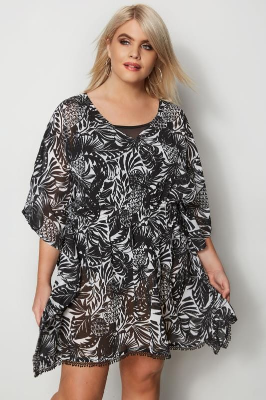 Plus Size Kaftans & Cover Ups Black & White Tropical Print Cover-Up