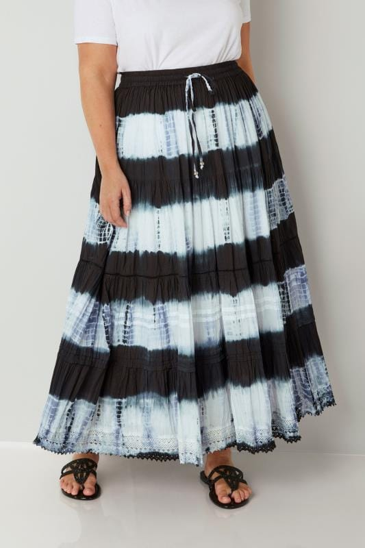 Black & White Tie Dye Tiered Maxi Skirt With Lace Trim Hem