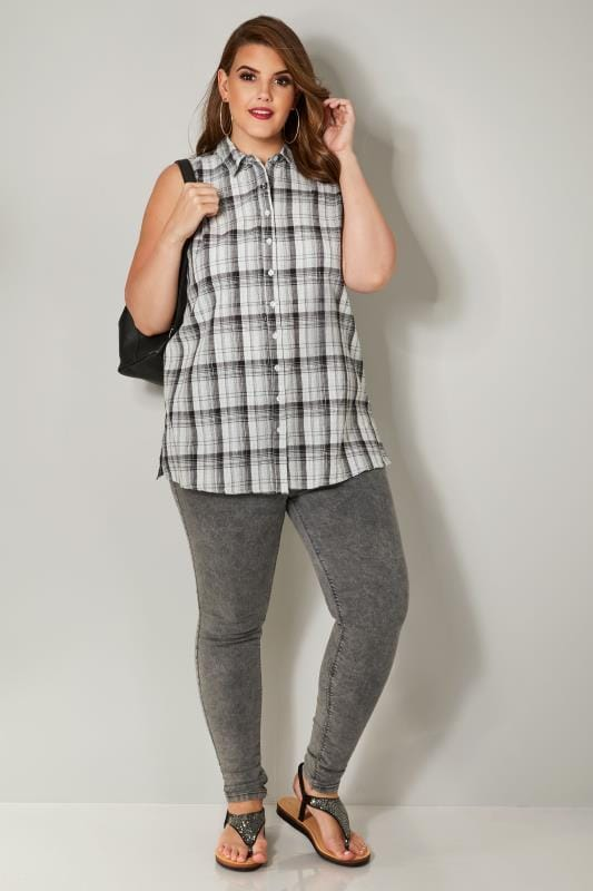 Black & White Woven Checked Sleeveless Shirt