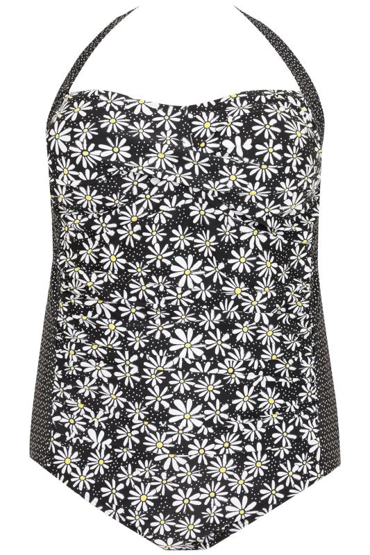Black, White & Yellow Vintage Daisy Print Swimsuit With Dotty Sides