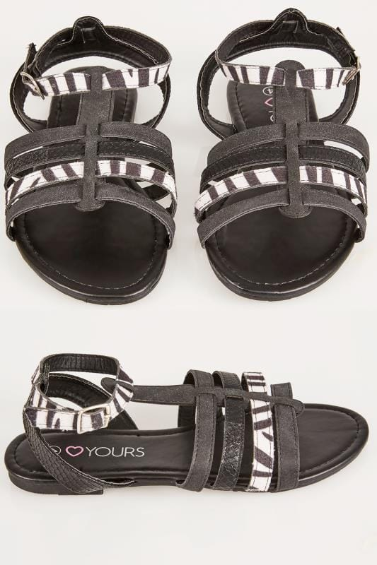 Wide Fit Flat Shoes Black & White Zebra Print Gladiator Sandal In TRUE EEE Fit