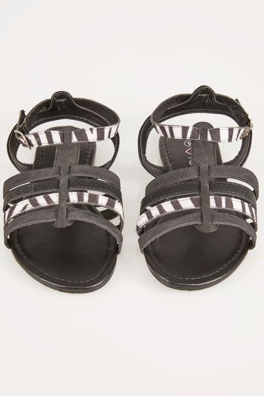 Black & White Zebra Gladiator Sandals In EEE Fit