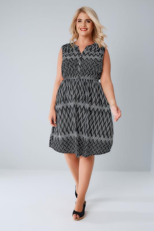 Black & White Zig Zag Button Detail Dress With Elasticated Waistband