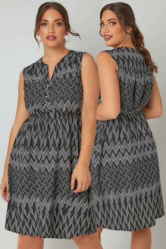Plus Size Midi Dresses Black & White Zig Zag Button Detail Dress With Elasticated Waistband