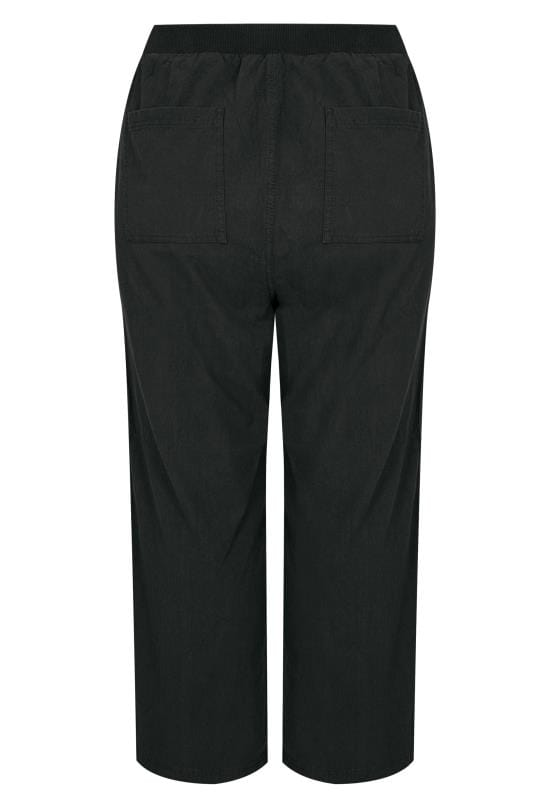 Plus Size Cotton Pants Black Wide Leg Cotton Trousers