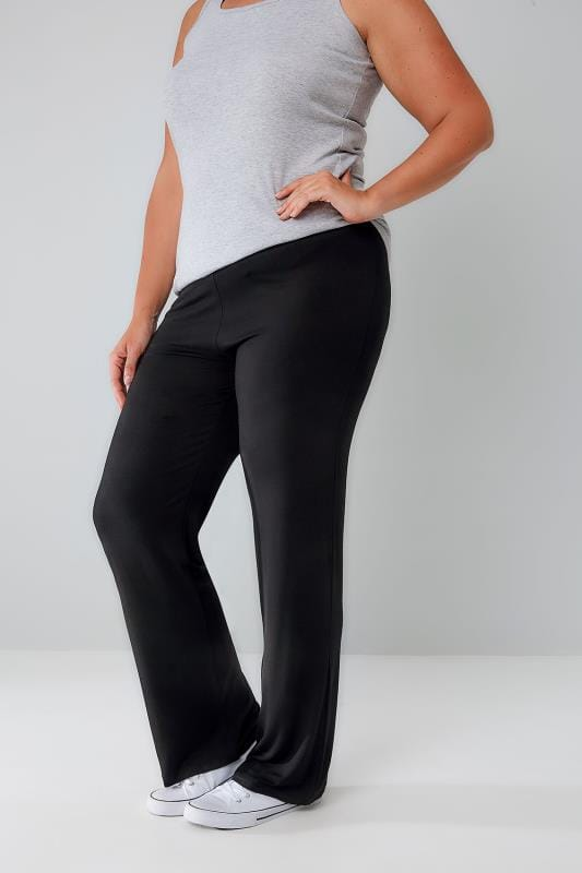 Black Wide Leg Pull On Stretch Jersey Yoga Trousers plus ...