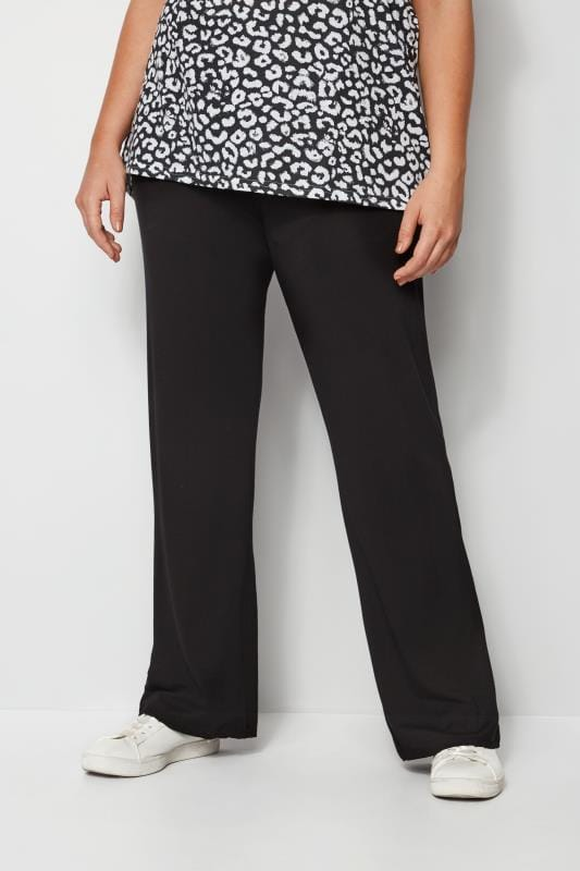 Plus Size Wide Leg & Palazzo Trousers Black Wide Leg Pull On Stretch Jersey Yoga Trousers