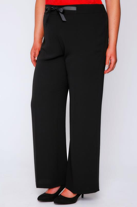 Black Wide Leg Trousers With Ribbon Waist Tie