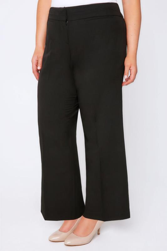 Plus Size Wide Leg & Palazzo Trousers Black Wide Leg Trousers With Stab Stitch Detail