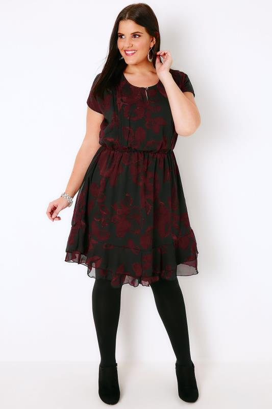 Black & Wine Leaf Print Tea Dress With Ruffled Hem