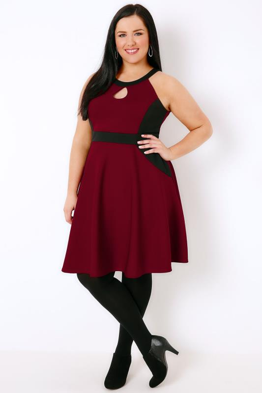 Black & Wine Halterneck Skater Dress
