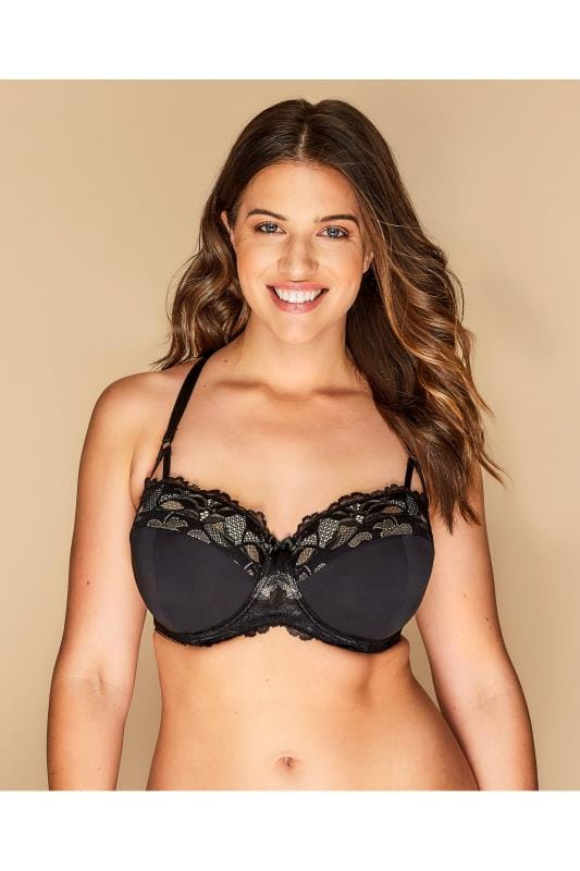 Plus Size Underwire Bras Black Wired Lace Bra With Crossover Back