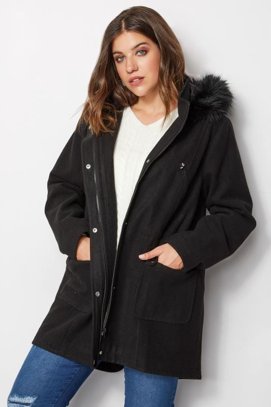 Plus Size Coats Black Wool Blend Parka Coat