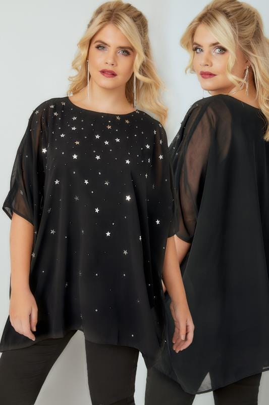 Plus Size Blouses YOURS LONDON Black Woven Cape Blouse With Star & Sequin Embellishment