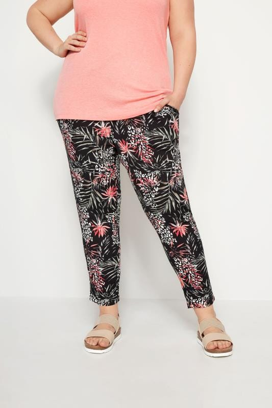 Plus Size Tapered & Slim Fit Trousers Black Woven Palm Print Tapered Trousers