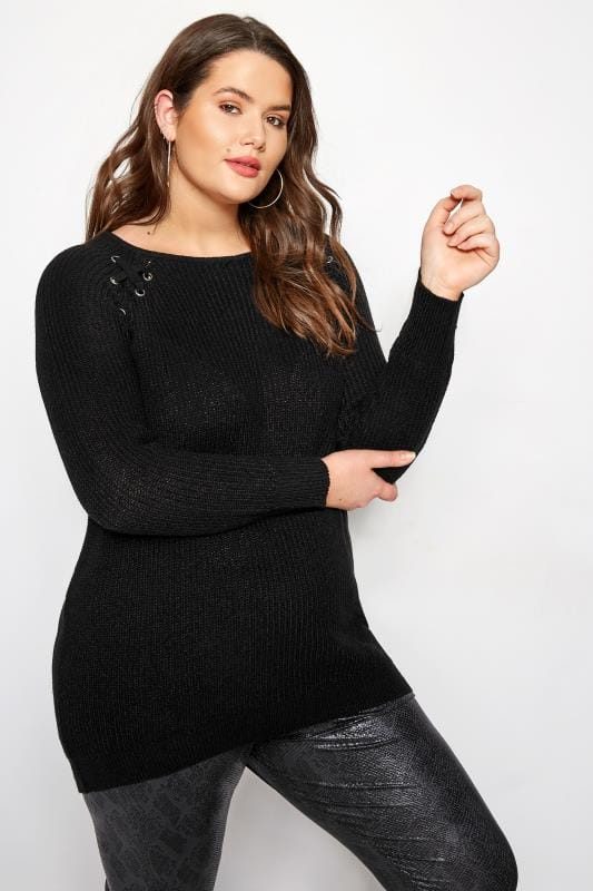 Plus Size Jumpers Black Knitted Lace Up Jumper