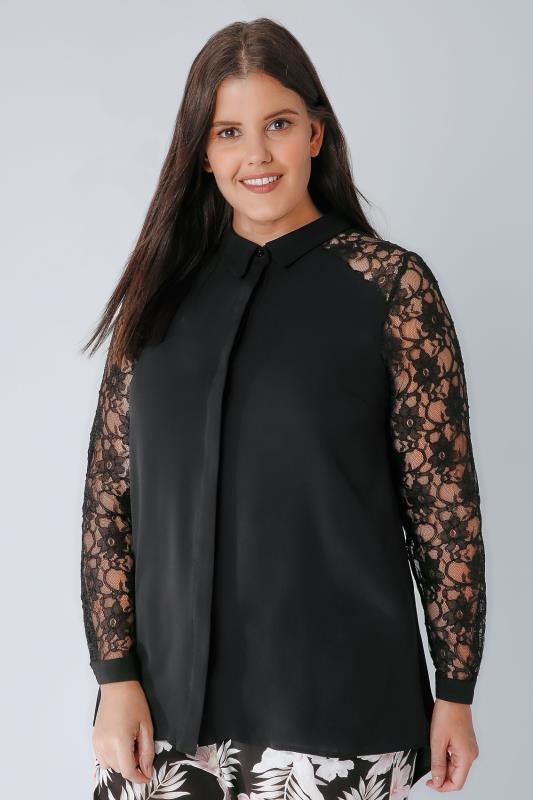 Black Woven Shirt With Lace Sleeves