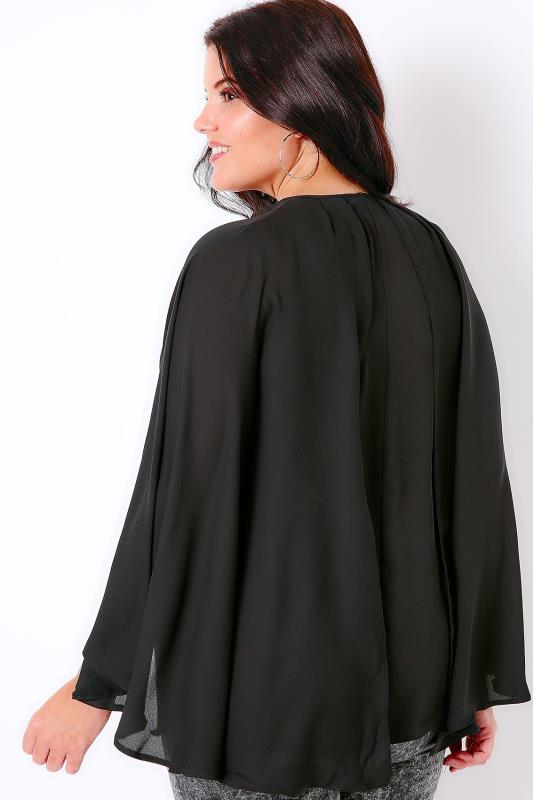 Black Woven Sleeveless Top With V-Neck & Cape Detail