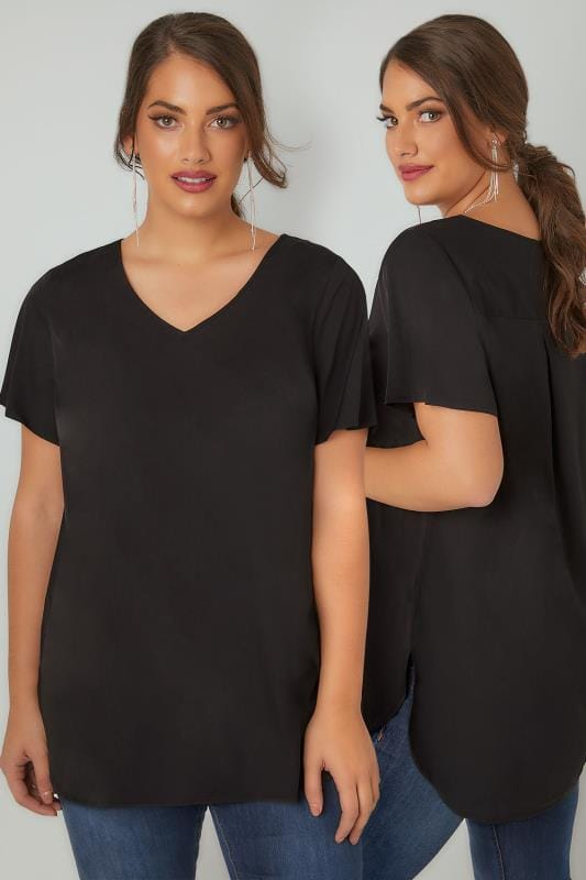 Black Woven Top With V-Neck & Curved Hem
