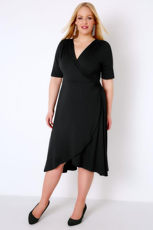 Black Wrap Dress With Short Sleeves